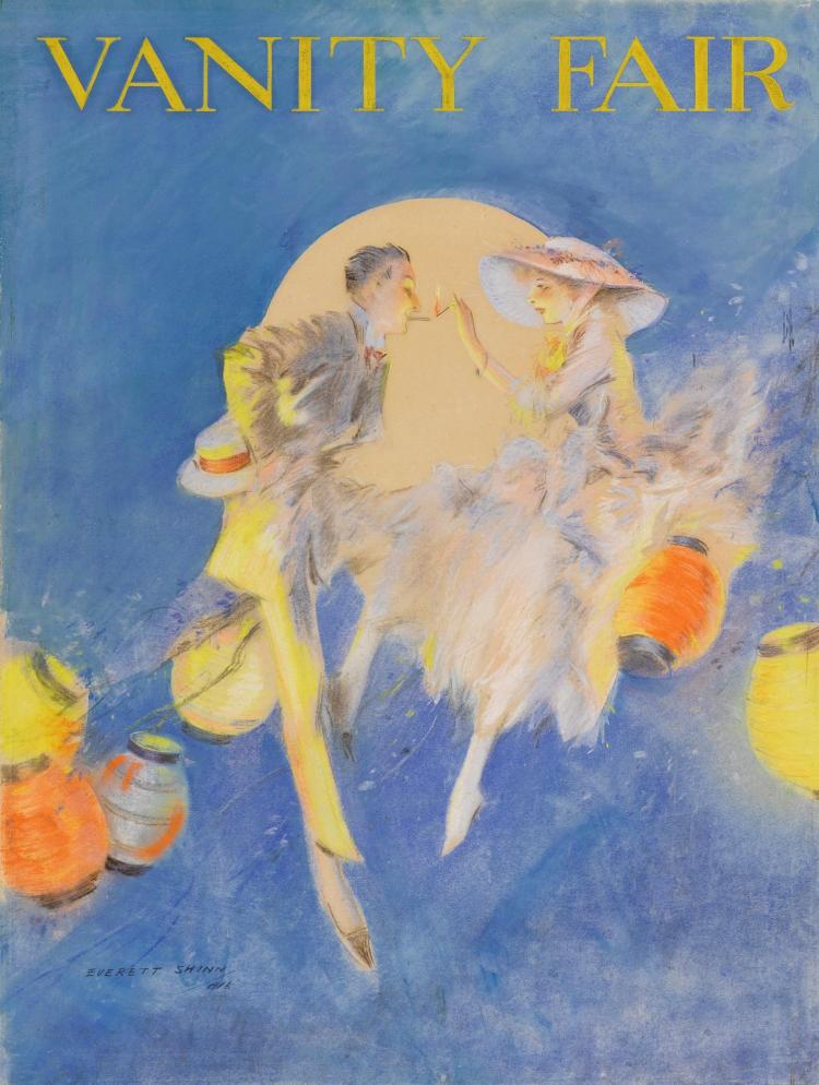 EVERETT SHINN | Couple Sitting Among Lanterns, Cover for Vanity Fair