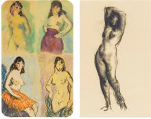 ROBERT HENRI | Four Studies of a Nude, A Technical Study Sheet <em>and</em> Standing Nude: Two Works on Paper