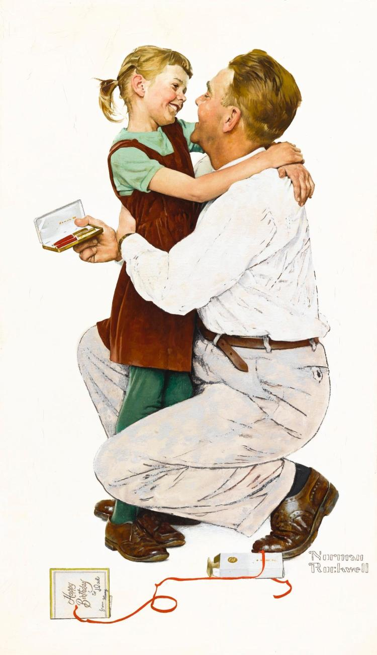 NORMAN ROCKWELL | She Gave Me a Parker 61 (Happy Birthday to Dad)
