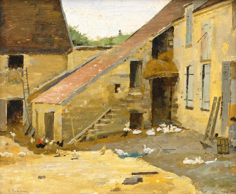 THEODORE ROBINSON | Barnyard with Ducks