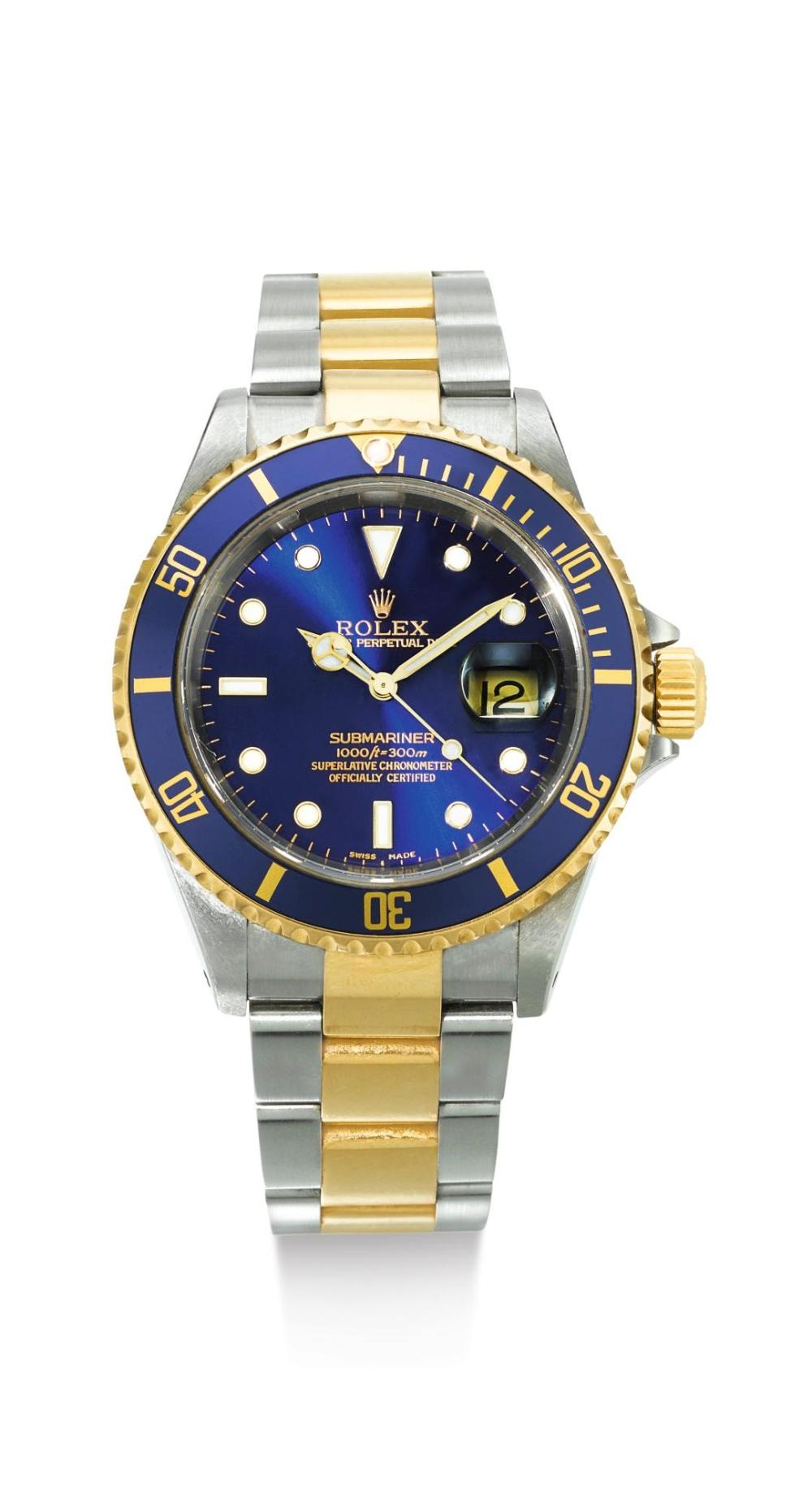 ROLEX | A STAINLESS STEEL AND YELLOW GOLD AUTOMATIC CENTRE SECONDS WRISTWATCH WITH DATE AND BRACELET REF 16613 CASE Y244024 SUBMARINER CIRCA 2002