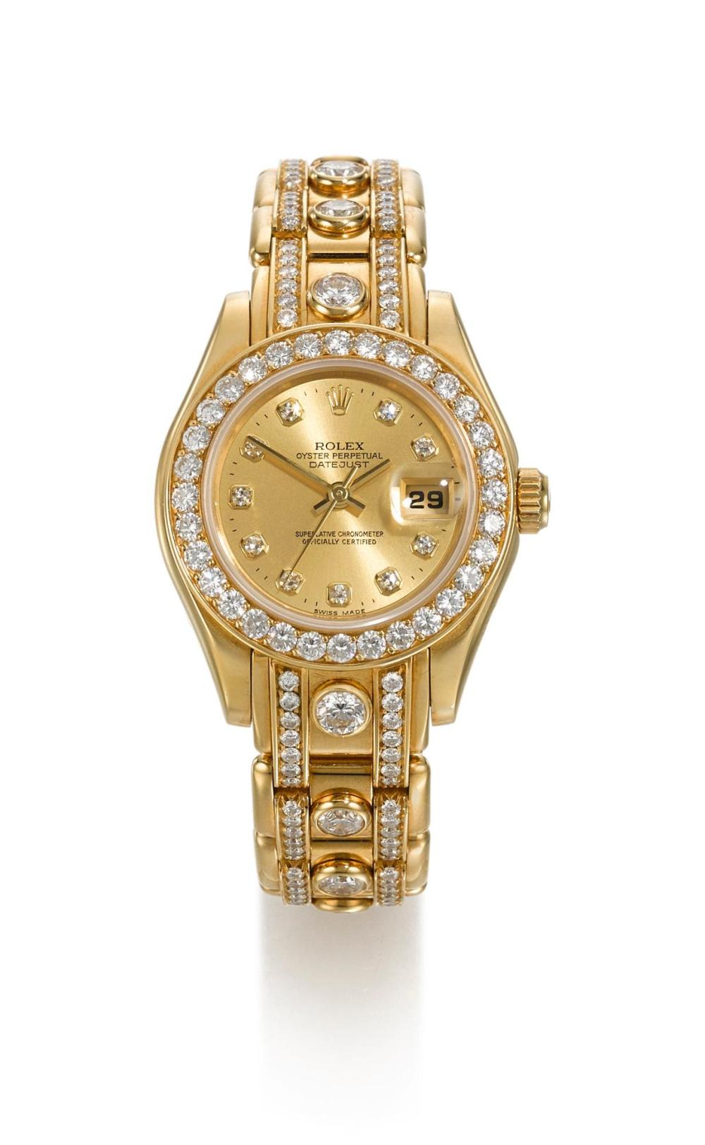 ROLEX | A LADY'S YELLOW GOLD DIAMOND-SET AUTOMATIC CENTRE SECONDS WRISTWATCH WITH DATE AND BRACELET REF 69298 CASE W772484 DATEJUST CIRCA 1995