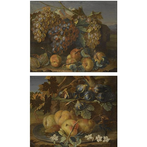 Attributed to Christian Berentz , Hamburg 1658-1722 Rome A still life of grapes on the vine, plums and peaches in a landscape; A still life of peaches and pears on a silver tazza, together with figs a pair, both oil on canvas laid on board
