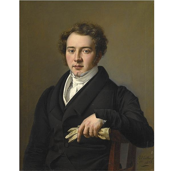 Joseph-Barthélémy Vieillevoye , Verviers 1788- Liège 1855 portrait of a young man, half length, wearing black jacket and holding a pair of gloves oil on canvas, unlined