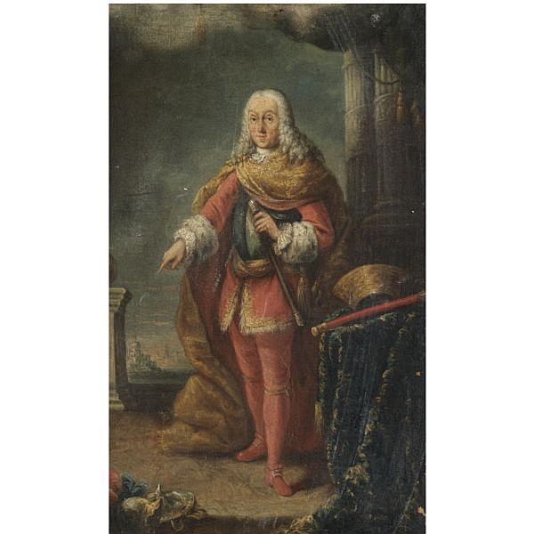 - Alessandro Longhi , Venice 1733 - 1813 Portrait of Francesco Grimani (1702-1779), full length, standing on a terrace before a landscape, wearing the uniform of the Provveditor General di Dalmazia e Albania oil on canvas, unlined