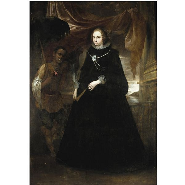 - Attributed to Giovanni Bernardo Carbone , Albaro 1616 - 1683 Genoa Portrait of a Lady, Full length, holding a fan, with her moorish attendant holding a parasole oil on canvas