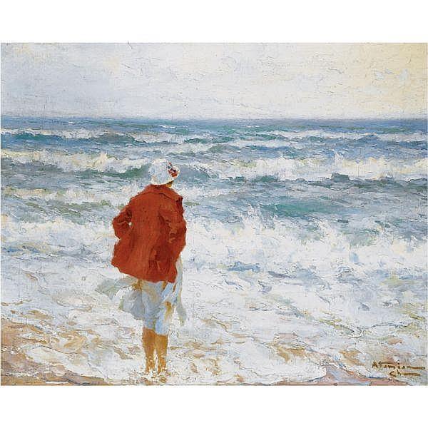 Charles Atamian , Armenian 1872 - 1947 On the seashore oil on canvas