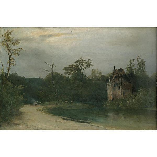 Karl Blechen , German 1798 - 1840 Waldlandschaft mit Schloss am Wasser (Castle in a Wooded Landscape) oil on panel