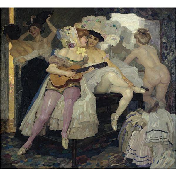 - Leo Putz , German 1869 - 1940   Hinter den Kulissen (Behind the Scenes) oil on canvas