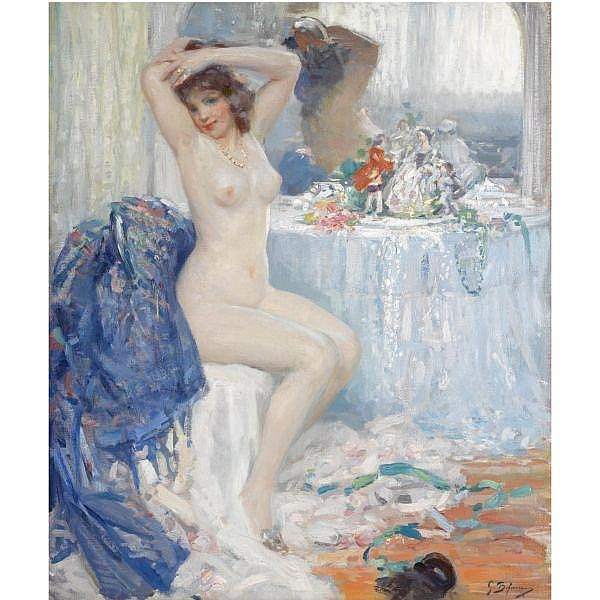 Gennaro Befanio , Italian b. 1866 At her Toilette oil on canvas