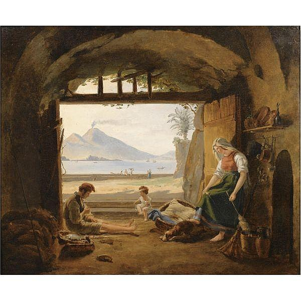 Franz Ludwig Catel , German 1778 - 1856 Fischer in Mergellina, Neapel (Neapolitan Fishermen in Mergellina, the Castel dell' Ovo and Vesuvius beyond) oil on panel