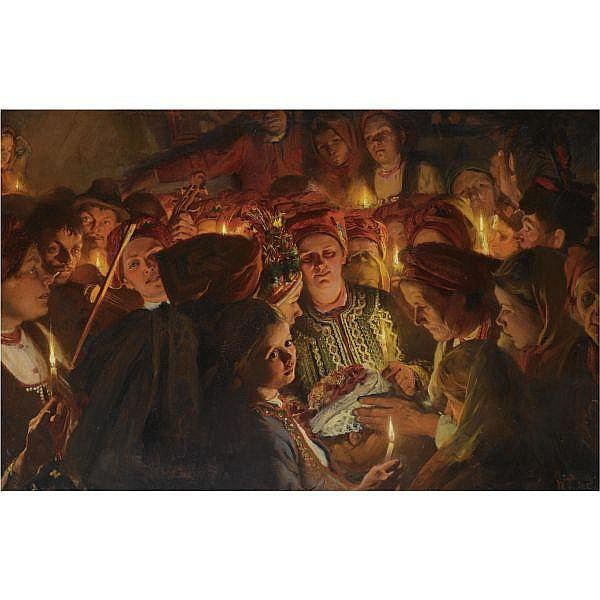 Wlodzimierz Tetmayer , Polish 1862 - 1923 The Celebration oil on canvas