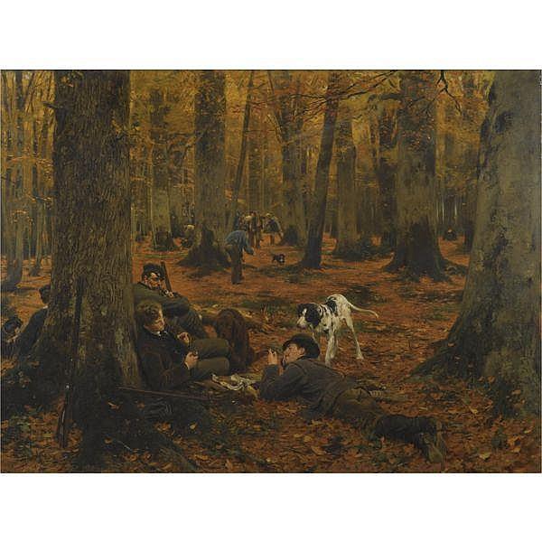 Wilhelm Simmler , German 1840-1914 Rast auf der Jagd (Hunters at Rest) oil on canvas