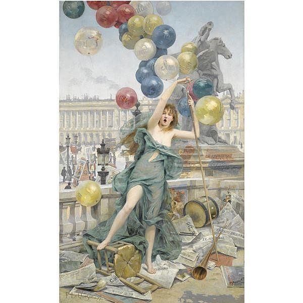 Fernand Le Quesne , French 1856 - 1956   Allegorie de la publicite oil on canvas