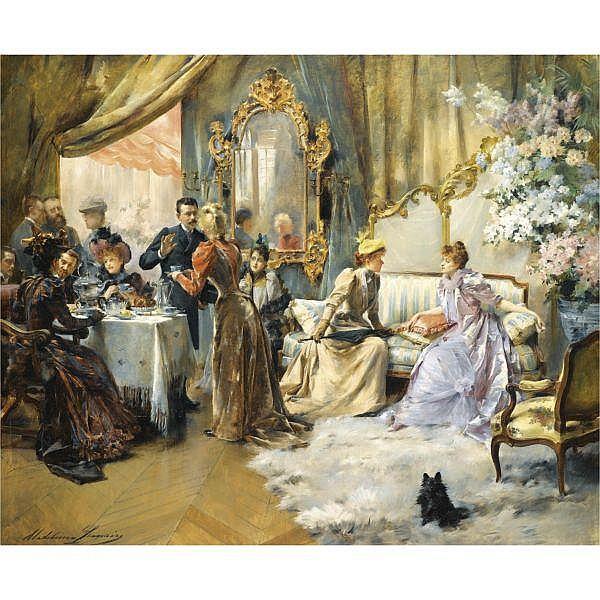 Madeleine Lemaire , French 1845 - 1928   le gouter au salon du peintre oil on canvas