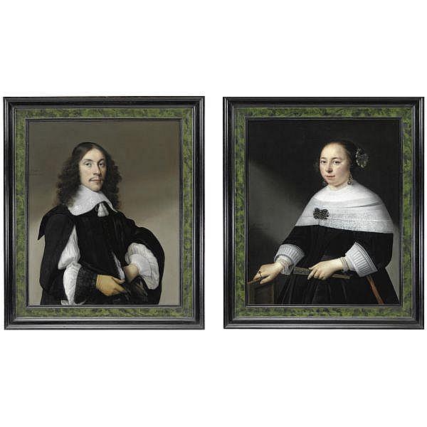 Anthonie Palamedesz, detto Stevers , Delft 1601-1673 Amsterdam   Ritratto di gentiluomo, mezza figura, che indossa un guanto; Ritratto di gentildonna, mezza figura, che regge un ventaglio   olio su tela, una coppia a pair, both oil on canvas