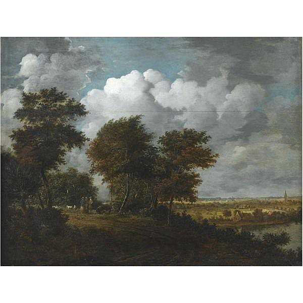 Philips Koninck , Amsterdam 1619 - 1688 An extensive landscape with figures and sheep on a path through woodland to the left, and a distant view across a river to a broad plain to the right oil on oak panel