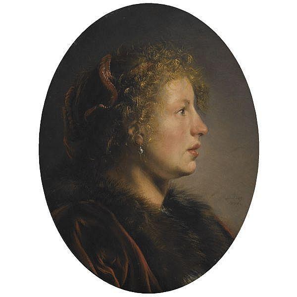 Salomon de Bray , Amsterdam 1597 - 1664 Haarlem Study of a Young Woman in Profile oil on oak panel, oval