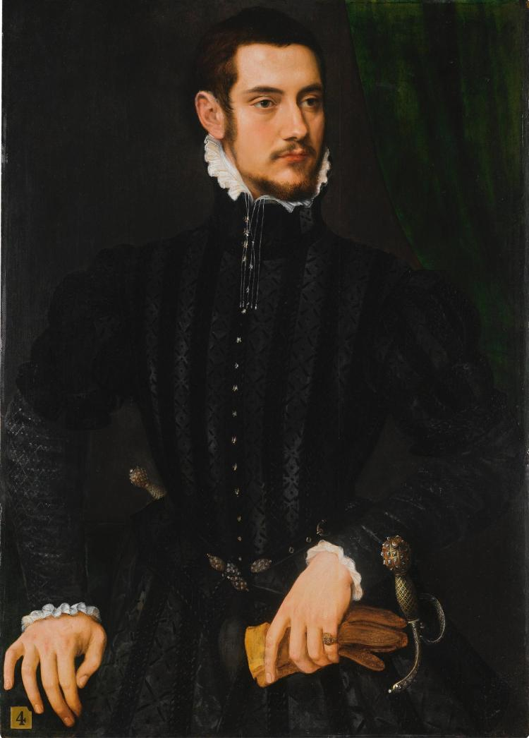 WILLEM KEY | Portrait of a gentleman, said to be 'Perari di Cremona', half-length, wearing a high-collared black coat with white cuffs and collar, holding a pair of gloves, standing before a green curtain