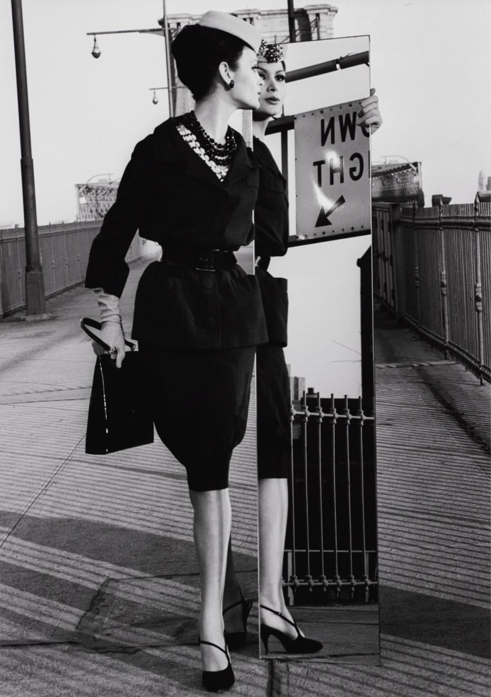 WILLIAM KLEIN | Annalise on Brooklyn Bridge & Mirror, N.Y., Vogue, 1963