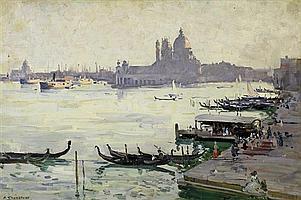 Arthur Streeton 1867-1943 EVENING, VENICE (1908) oil on canvas