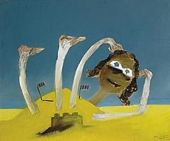 Sidney Nolan 1917-1992 BATHER AND SANDCASTLE 1945 enamel paint on cardboard