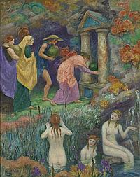 Rupert Bunny 1864-1947 OFFRANDE AUX NYMPHESOFFERING TO THE NYMPHS (1919-1921) oil on canvas