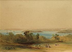 Conrad Martens 1801-1878 VIEW TO THE FORT, SYDNEY HARBOUR 1846 watercolour and gouache on paper
