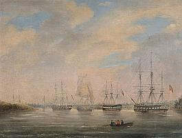After William Light 1786-1839 DISTANT VIEW OF THE LANDING PLACE AND THE IRON STORES AT PORT ADELAIDE, SOUTH AUSTRALIA; VIEW AT YANKA...