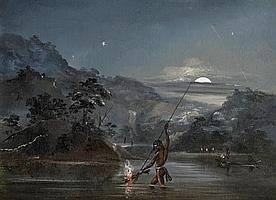 Thomas Balcombe 1810-1861 ABORIGINES FISHING BY TORCHLIGHT oil on board