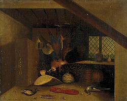 William Buelow Gould 1803-1853 INTERIOR STILL LIFE WITH PHEASANTS, SNIPE, HARE, FLOUNDER AND CRAYFISH (1840s) oil on canvas