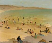 MARCEL DYF 1899-1985 Plage en Bretagne, Morbihan oil on canvas 46.2 x 55 cm