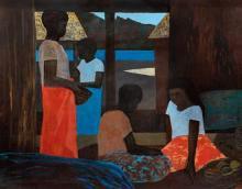 RAY CROOKE 1922-2015 (Islanders in a Hut) oil on canvas 122 x 152 cm