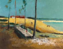 § SALI HERMAN 1898-1993 (Yirrkala) 1960 oil on canvas 89 x 114 cm