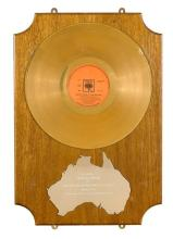 An Australian Gold Record presented to Johnny Cash in recognition of record sales in excess of 37,000 for Johnny Cash at San Quentin...