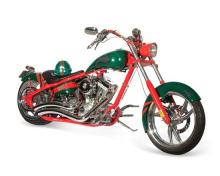 A 2008 custom 'Rabbitohs' chopper motorcycle, designed and made for Russell Crowe by Orange County Choppers 257 cm long, 67 cm high..