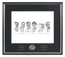 A framed signed New Zealand Test Cricket 200 Club limited edition print, by Murray Webb 26.5 x 35 cm (image)Accompanied by a letter...