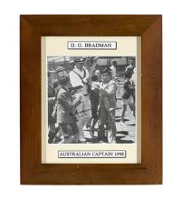 A black and white digital print signed by Donald Bradman 32 x 27 cm (overall)Accompanied by a letter from Russell Crowe stating his...