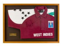 Brian Lara's signed 1995 one day international cricket shirt 55.5 x 79.5 cm (overall)