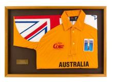David Boon's signed 1995 Australian one day international cricket shirt 55.5 x 79.5 cm (overall)