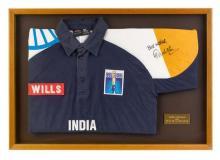 Sachin Tendulkar's signed one day international cricket shirt 55.5 x 79.5 cm (overall)