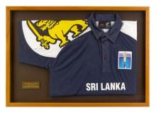 Aravinda de Silva's signed 1995 one day international cricket shirt 55.5 x 79.5 cm (overall)
