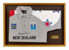 Martin Crowe's signed 1995 one day international shirt 55.5 x 79.5 cm (overall)