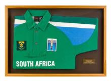 Hansie Cronje signed 1995 one day international cricket shirt 55.5 x 79.5 cm (overall)