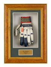 A Gray-Nicholls Rapier 1000 batting glove, used during the Australian Cricket Tour to South Africa in 2002, signed by Matthew Hayden...