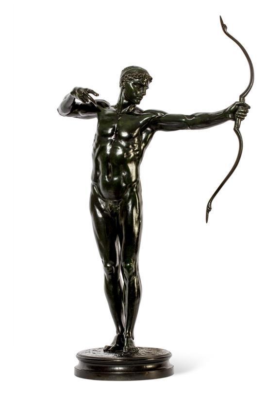 SIR WILLIAM HAMO THORNYCROFT, R.A. 1850-1925 Teucer 1881 bronze 75 cm high