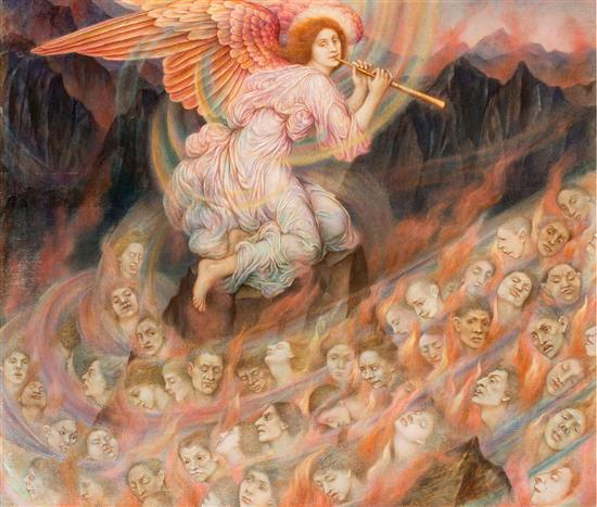 EVELYN DE MORGAN 1855-1919 An Angel Piping to the Souls in Hell (circa 1910-1915) oil on canvas 50.8 x 61 cm