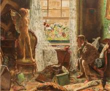 JOHN LISTON BYAM SHAW, A.R.W.S., R.I. 1872-1919 When Love Came into the House of the Respectable Citizen (1916) watercolour and body...
