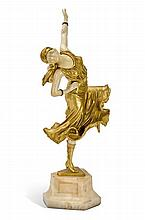 CLAIRE JEANNE ROBERTE COLINET 1880-1950 Mexican Dancer (circa 1925) gilt bronze and ivory on onyx base