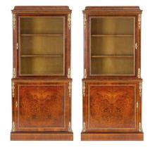 A fine pair of Victorian walnut ormolu mounted cabinets, circa 1870